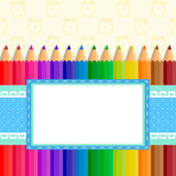 The template of the postcard or cover. Back to school. Template greeting card or cover: colored pencils,tied up with a ribbon; in the center place for Your text vector illustration