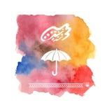 Template for a postcard or a flyer with an umbrella. Stock Photos