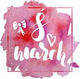 Template of postcard for international woman`s day, 8 march hand. Drawn sketch on watercolor background stock illustration