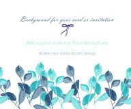 Template postcard with the watercolor blue and mint branches, hand drawn on a white background, greeting card, decoration postcard Stock Image