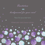 Template postcard with the watercolor blue and purple bubbles (spots, blots), hand drawn on a dark background Stock Images