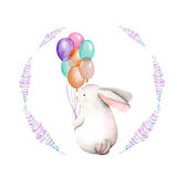 Template of a postcard with watercolor festive rabbit illustration Royalty Free Stock Photos