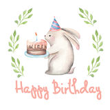 Template of a postcard with watercolor festive rabbit illustration Royalty Free Stock Photography
