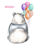 Template of postcard with watercolor illustration panda and air balloons Stock Images