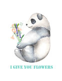 Template of postcard with watercolor illustration panda and bouquet of flowers Royalty Free Stock Image