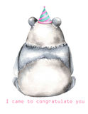 Template of postcard with watercolor illustration panda in festive cap Royalty Free Stock Image