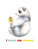 Template of postcard with watercolor  illustration panda and ice cream cone Stock Image