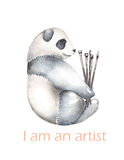 Template of postcard with watercolor illustration panda and paint brushes Royalty Free Stock Photos