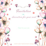 Template postcard with the watercolor pink abstract flowers and berries, wedding design, greeting card or invitation Stock Photography