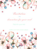 Template postcard with the watercolor pink abstract flowers and berries, wedding design, greeting card or invitation Royalty Free Stock Photo