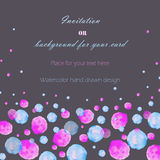 Template postcard with the watercolor pink, blue and purple bubbles (spots, blots), hand drawn on a dark background Royalty Free Stock Photos