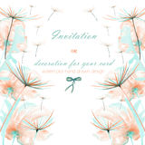 Template postcard with the watercolor pink and mint air flowers and dandelion fuzzies, wedding design, greeting card or invitation Stock Photos