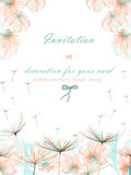 Template postcard with the watercolor pink and mint air flowers and dandelion fuzzies, wedding design, greeting card or invitation Royalty Free Stock Photography