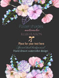 Template postcard with with watercolor tender flowers and leaves in pastel shades, hand drawn on a dark background Royalty Free Stock Photography