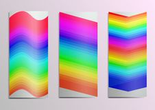 Template for postcards.Rainbow on the cover gracefully emphasizes the bright congratulatory mood. royalty free illustration