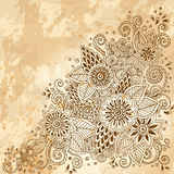 Template poster with doodle flowers and paisley Stock Photography
