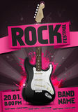 Vector rock festival flyer design template with guitar. Template for poster, fyler and invitation cards with oragmai banner and cool black guitar in the Stock Images