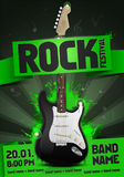 Vector rock festival flyer design template with guitar. Template for poster, fyler and invitation cards with oragmai banner and cool black guitar in the Stock Image