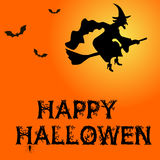 Template for poster of Happy Halloween, witch and text Happy Halloween Stock Photography