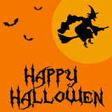 Template for poster of Happy Halloween, witch and text Happy Halloween Royalty Free Stock Photography
