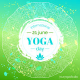 Template of poster for International Yoga Day. Royalty Free Stock Photography