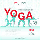 Template of poster for International Yoga Day. Stock Photo