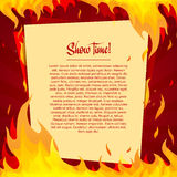 Template posters on a bright red background with. Frame of fire. Place for your text. vector Royalty Free Stock Image
