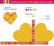 Template present box. In heart shape with azulejos ceramic models Stock Photography