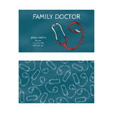 Template professional blue business card for printing in the printing industry isolated on white background. Family doctor, intern. Ist, pediatrician. Vector Royalty Free Stock Images