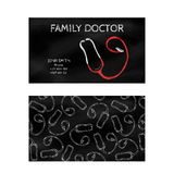 Template professional business cards for printing in the printing industry isolated on white background. Family doctor, internist, Royalty Free Stock Images