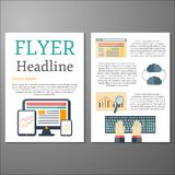 Template with programming flat objects for flyers Royalty Free Stock Photo