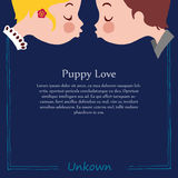 Template of puppy love kiss Royalty Free Stock Images