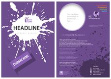 Template of a Purple Leaflet with a Splatter Royalty Free Stock Photo