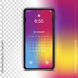 Template realistic black smartphone with a screen lock on a colour and transparent background. Phone with set of web. Icons and calendar. Flat vector royalty free illustration