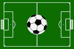 Template realistic football field with lines and gates. vector i Stock Images