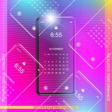 Template realistic smartphone with a gradient and screen lock on a colour background. Phone with set of web icons and calendar wit. H gradient background. Flat stock illustration
