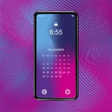 Template realistic smartphone with a gradient and screen lock on a colour background. Phone with set of web icons and calendar wit. H gradient background. Flat royalty free illustration
