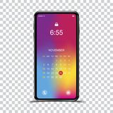 Template realistic smartphone with a gradient and screen lock on a transparent background. Phone with set of web icons and calenda. R with gradient background vector illustration