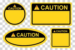 Template rectangle, square and oval yellow and black blank caution sign. Vector template rectangle, square and oval yellow and black blank caution sign stock illustration