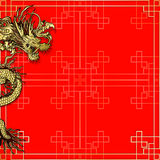 Template red background with dragon. Vector illustration pattern with golden ornament Chinese red background with a Chinese dragon. Can be used as a template for Royalty Free Stock Images