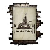 Template restaurant menu covers, wall paper and stencil. Food and drink in the doorway of an old brick wall. The isolated image on a white background can be Royalty Free Stock Photography