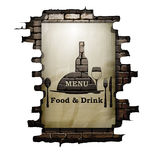 Template restaurant menu covers, wall paper and stencil. Food and drink in the doorway of an old brick wall. The isolated image on a white background can be Stock Photography