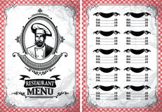Template for restaurant menu in retro style with chef Royalty Free Stock Image
