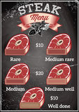 Template for restaurant menu with steaks of varying degrees of roasting Stock Photography