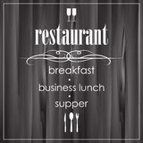 Template restaurant menu with white words Stock Image