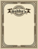 Template with retro frame and label, faded paper background. Stock Photos