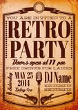 Template for a retro party, concert, events. Vector template for a retro party, concert, events Stock Image