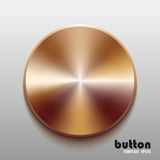 Template of round button with bronze metal texture. Isolated on gray scale background Stock Images