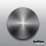 Template of round button with dark steel texture. Isolated on gray scale background Royalty Free Stock Photography