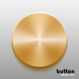 Template of round button with gold metal texture. Isolated on gray scale background vector illustration